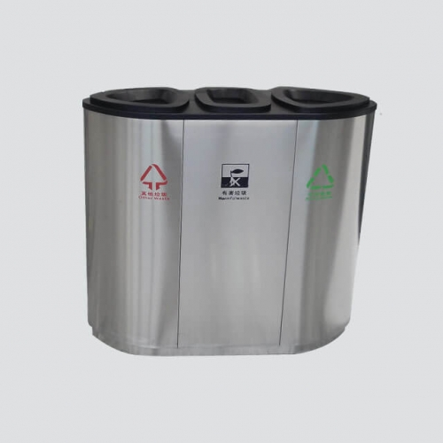 BS42 3 classified stainless steel recycling bins for supermarket
