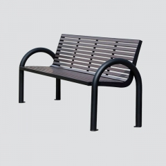 FW29 outdoor park bench with wood slat