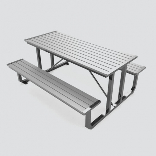 TB25 Outdoor unfoldable wooden table with two benches