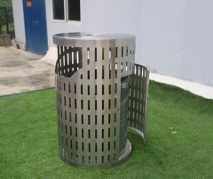 BS38 Outdoor Laser cutting Stainless Steel Trash Receptacle