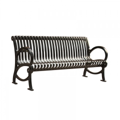 FS29 steel park bench with cast iron legs