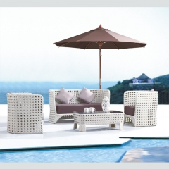RT-17 outdoor rattan sofa garden furniture wicker sofa set 4 seater with table