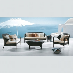 RT-16 Contemporary Luxury Garden Lounge Furniture Outdoor Rattan Corner Sofa Set 4 Piece Chairs Sofa
