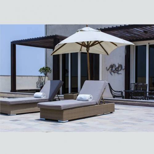 RC14 Rattan chaise outdoor furniture sun lounger with side table
