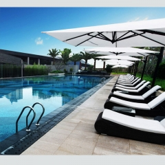 RC05 Outdoor Synthetic Wicker Sunbeds / Beach Sunbed with umbrella