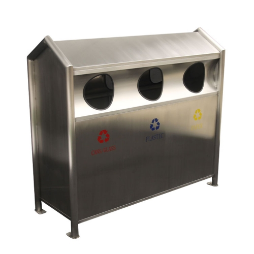BS82 stainless steel compartment garbage bin
