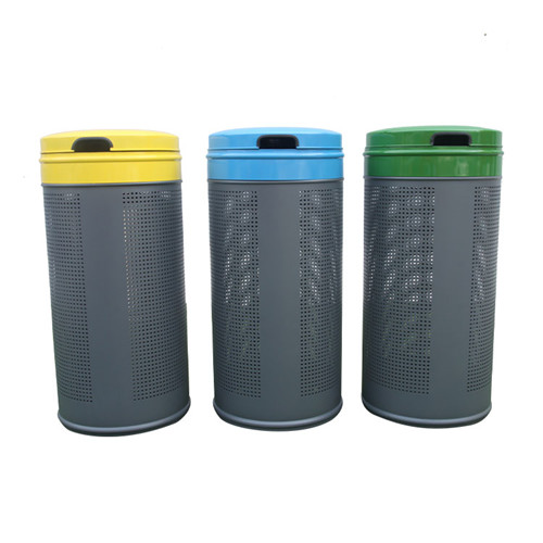BS87 Outdoor steel trash bin with lid